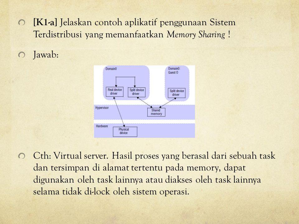 [K1-a] Jelaskan contoh aplikatif penggunaan Sistem Terdistribusi yang memanfaatkan Memory Sharing !